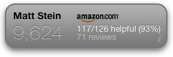 Screenshot of the Amazon.com reviewer widget for the Mac OSX Dashboard; rank, helpful votes, number of reviews