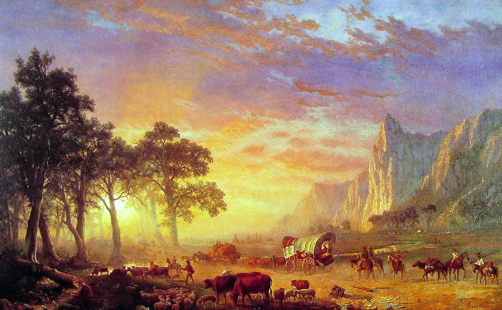 oil painting of Oregon Trail party at sunset