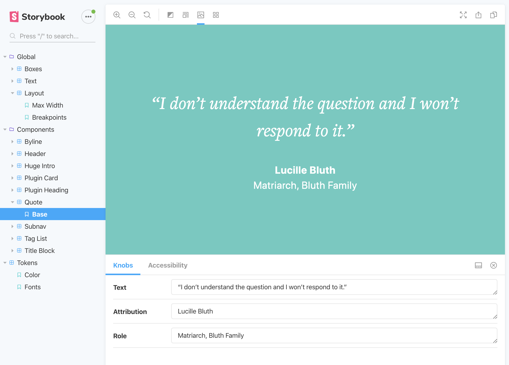 screenshot of Storybook interface with a sidebar menu of components and a rendered pull quote with testing tools
