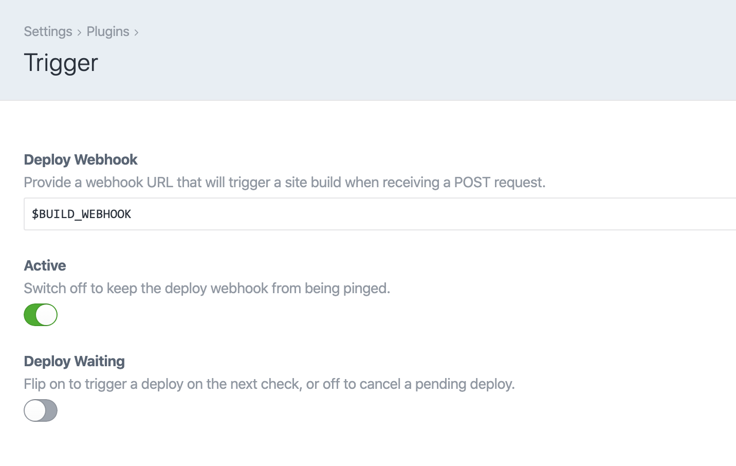 Trigger Craft CMS plugin settings: Deploy Webhook field, Active switch, and Deploy Waiting switch