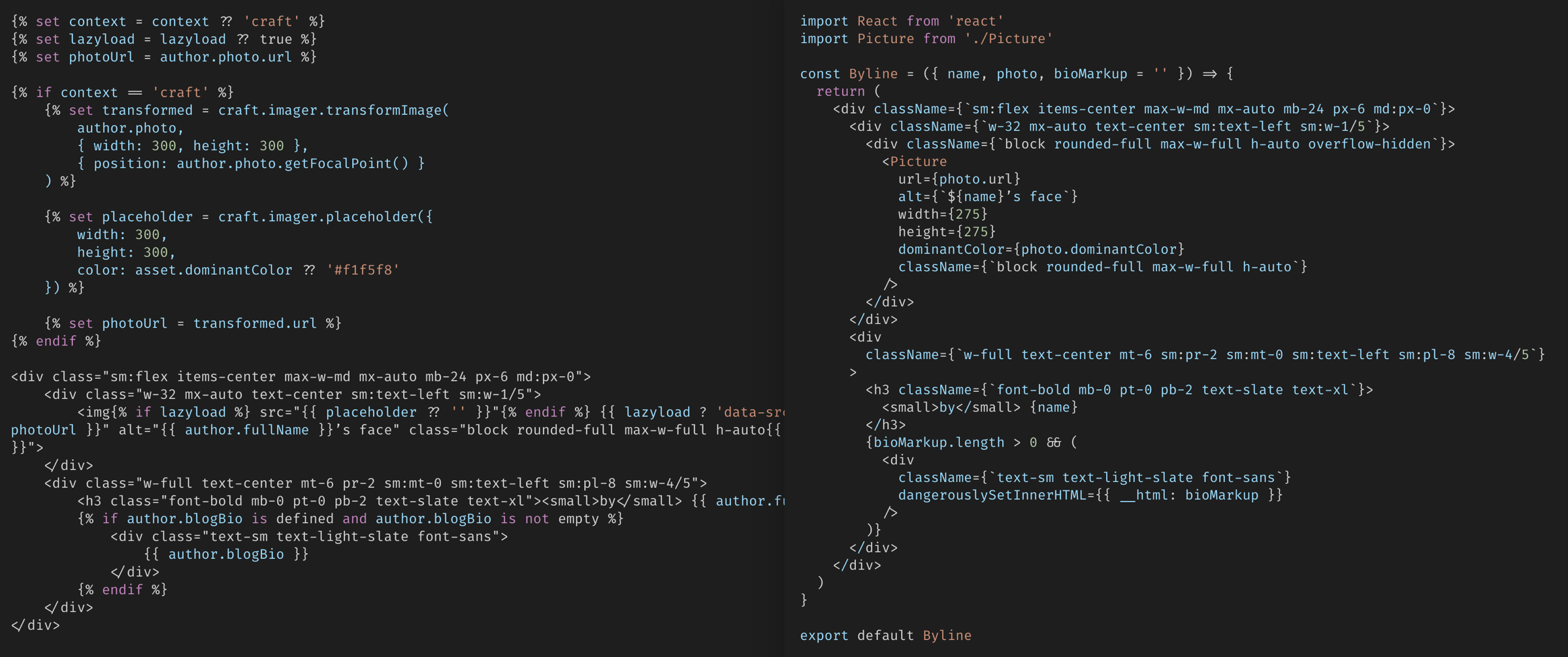 screenshot of a Twig template on the left and a JSX template on the right