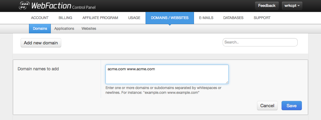 Screenshot of adding new domain names in the Webfaction control panel